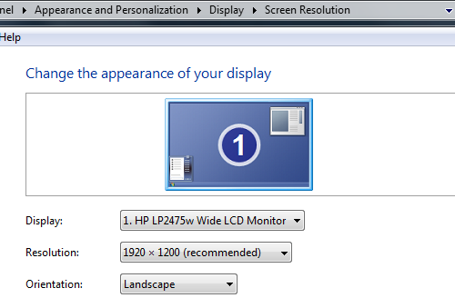 Windows 7 display rez